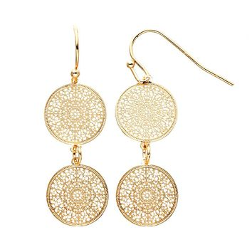 LC Lauren Conrad Medallion Drop Earrings (Yellow)