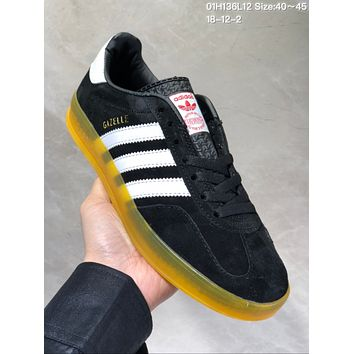 DCCK A484 Adidas Superstar Gazelle Fashion Casual Skate Shoes Black Yellow
