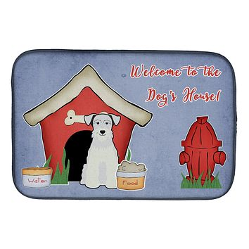 Dog House Collection Miniature Schanuzer White Dish Drying Mat BB2807DDM