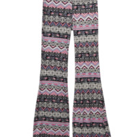 Floral Geo Striped Brushed Bell Bottoms   Wet Seal