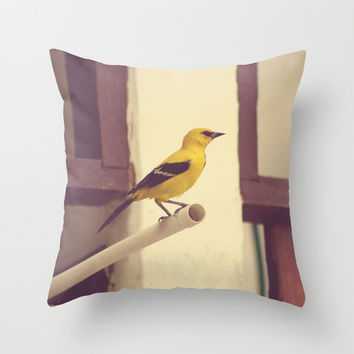 SALE, Pillow cover, fall pillow, bird pillow, yellow pillow, purple pillow, couch pillow, animal pillow, vintage pillow, brown pillow