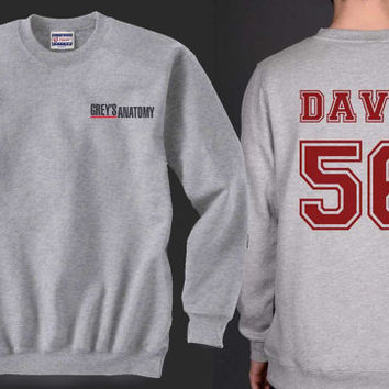 DAVIS 56 Greys Anatomy Heather Grey Unisex Crewneck Sweatshirt