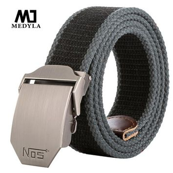 2017 New Arrival Real Striped Adult Fashion Men Free Leather Belt Ultra Long 140 Canvas Belt Man Automatic Buckle Strap Knitted