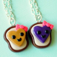 Handmade Heart Peanut Butter and Jelly Best Friends Necklaces with Pink Bows