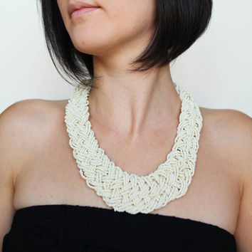 Multiple strands necklace,  white small beads multistrand seed beads, 16 layers knotted necklace