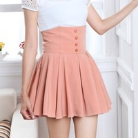 new lady cute Elegant high-waisted pleated mini short Skirt S M L XL pink/black