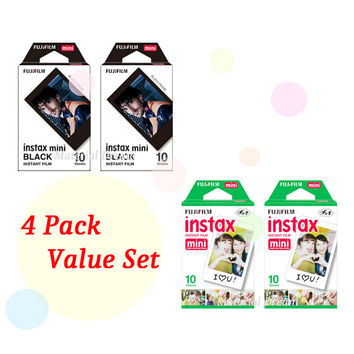 Instax Film 2 Double Package Value Set Fujifilm Instax Mini Film White Plus Black Polaroid Instant Photos 40 Shots