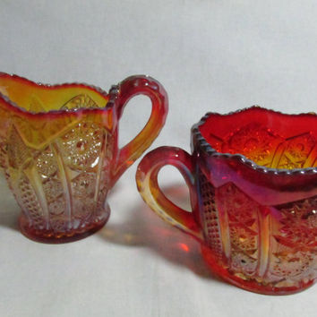 Indiana Glass Creamer and Open Sugar bowl Heirloom Red Amberina pair