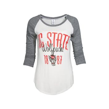 White Official NCAA North Carolina State University Wolfpack Nc Ncsu Women's Baseball T Shirt Raglan