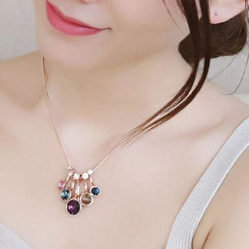 Bohemian wind crystal chain necklace for women fashion colorful Flower water drops love short necklace pendant