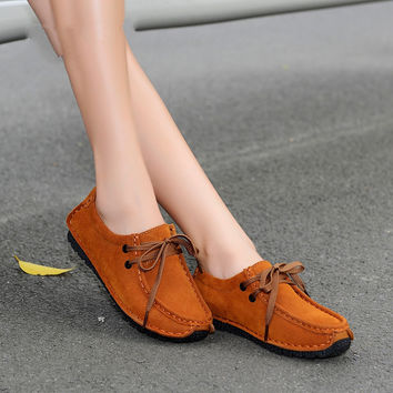 2016 spring women casual shoes genuine leather flats shoes women lace up oxfords shoes leather suede loafers boat shoes 6868