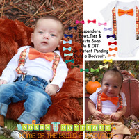 Baby Boy Thanksgiving Outfit Argyle Suspenders Orange Tan Bow Tie