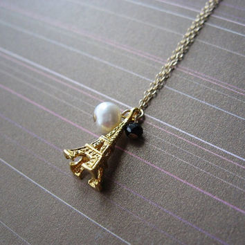 SALE Gold Vermeil Eiffel Tower Necklace accented with Organic Pearl and Black Spinel by Yameyu