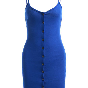 Sapphire Blue Spaghetti Strap Button Up Dress