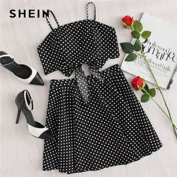 SHEIN Polka Dot Knot Back Crop Cami And Skirt Set 2018 Summer Women Spaghetti Strap Sleeveless Backless Zipper 2 Pieces Sets