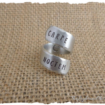 CUSTOM Hand Stamped Ring - Carpe Noctem Seize the Night  - Gift for her - Stamped Metal Jewelry - Gift - Personalized - Wrap Adjustable Ring