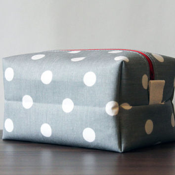 FREE SHIPPING Large Makeup Cosmetic Bag in White Polka Dots on Grey with White PUL Lining