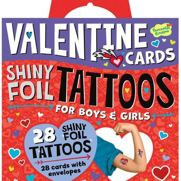 Peaceable Kingdom Shiny Foil Temporary Tattoos 28 Card Super Valentines Pack