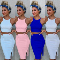 Sleeveless side split two pieces dressclub wear slim women dress