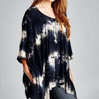 Tie Dye Dolman Top - Black/Brown
