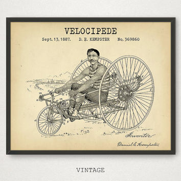 Bicycle Art Print, Velocipede Patent Printable, Vintage Bike Poster, Digital Download, Old Bicycle Wall Art, Retro Rower, Tricycle Poster