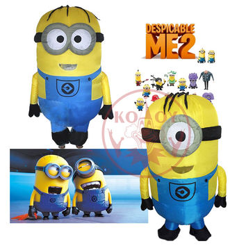 Cosplay Party Inflatable Adult Minion Costume Halloween costume for Sexy Women Despicable Me Mascot boys/girls  fancy dress