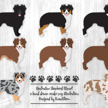 Australian Shepherd Clipart Digital Dog Illustrations Herding Dog Black Red Blue Merle Tricolor Bicolor Aussy Dogs Scrapbooking Dog Lovers