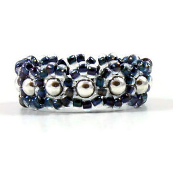 Blue Sterling Silver Beaded Ring Beadwoven Ring Seed Bead Jewelry