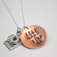 Keep Calm and Snap On - Photographer's Copper Hand Stamped Necklace with Silver Camera Charm