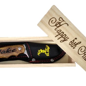 Happy 5th Anniversary Fixed Blade Knife and Box