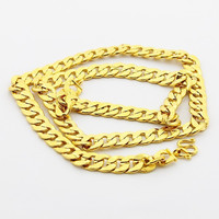 24K GP Gold Plated Necklace Mens Women Yellow Gold Golden Jewelry Necklace YHDN 59 MP