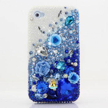 iPhone 5 5S 5C 4/4S - Samsung Galaxy S3 S4 Note2 3 -Handcrafted Case Cover 3D Luxury Bling Crystal Sparkle Diamond Blue Rose White Pearl_729