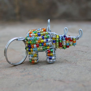 Keyring Beaded , Keychain beaded , Animal key chain , African beaded wire keychain , Key holder , African curio , Purse charm- RHINO.