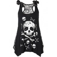 "Women's ""Skull and Crossbones"" Top with Lace Back by Jawbreaker (Black)"