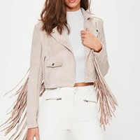 Missguided - Pink Faux Suede Fringe Detail Biker Jacket