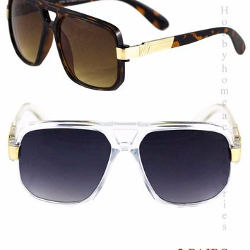2 PAIRS-Vintage Unisex Aviator Retro Tortoise Brown & White Black Sunglasses