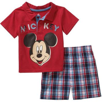 Mickey Mouse Newborn Baby Boy Polo and Shorts Outfit Set - Walmart.com