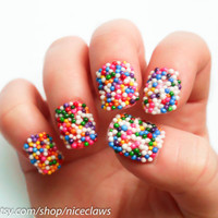 Candy Sprinkles Nails, Bubblegum Gumball Artificial Short 3D Fingernails