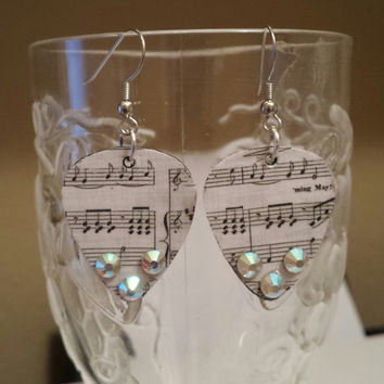 Guitar Pick Jewelry by Betsy's Jewelry - Guitar Pick Earrings - Music Notes - Rocker - Music Teacher - Upcycled Jewelry