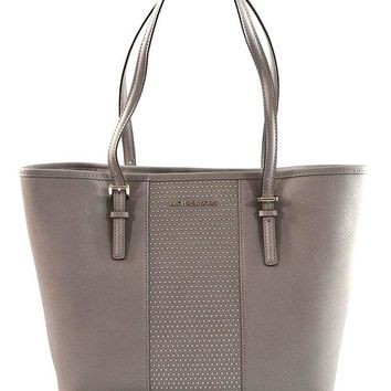 VONW3Q MICHAEL Michael Kors Women's Jet Set Travel Micro Stud Leather Carry All Tote Handbag (Pearl Grey)