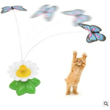 MUQGEW Pet supplies dog accessories Electric Rotating Seat Butterfly Funny Cat Pet Toy Cat toys interactive Kitten