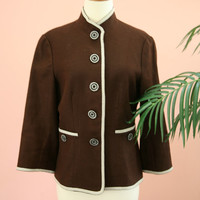 Chocolate Brown and White Stand Up Collar Blazer Size 8