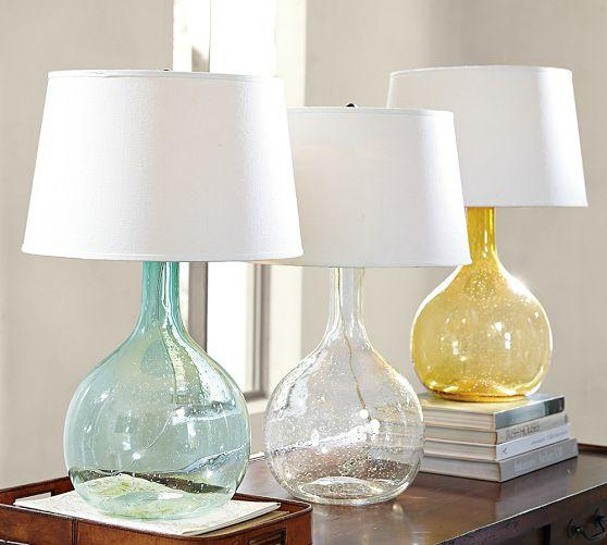 eva colored glass table lamp from pottery barn. Black Bedroom Furniture Sets. Home Design Ideas