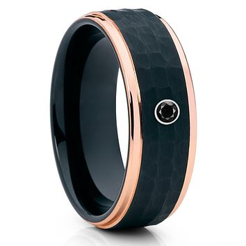 Rose Gold Tungsten Ring - Black Tungsten Ring - Black Ring - Black Diamond