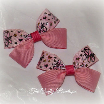 Breast Cancer ~ Clippie PIgtail Hair Bow Set ~ Pink Ribbon ~ Girls Hair Bows ~ Small Hair Bows ~ Awareness Ribbon ~ Hope Love Courage
