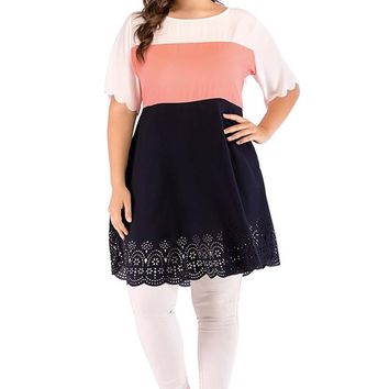Tricolor Tunic Top With Eyelet Border Trims