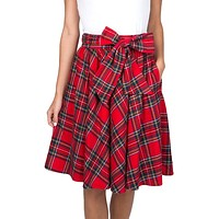 Plaid Circle Skirt in Red by Lauren James - FINAL SALE