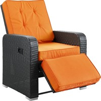 Modern Patio Furniture Commence Patio Armchair Recliner Espresso Orange Cushions