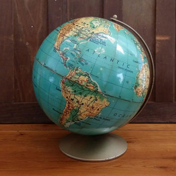 """Vintage 12"""" Weber Costello Educator Basic World Globe on Metal Stand Base Great Mid Century Decor for the Mantel Library Classroom"""
