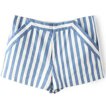 Blue and White Striped Shorts